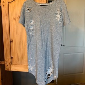 Distressed French terry shirt dress